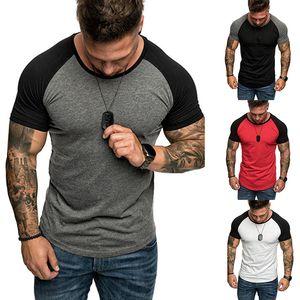 مصمم الصيف القمصان الرجال قمم المرقعة الألوان الصلبة تي شيرت ملابس رجالي مع الأكمام قصيرة