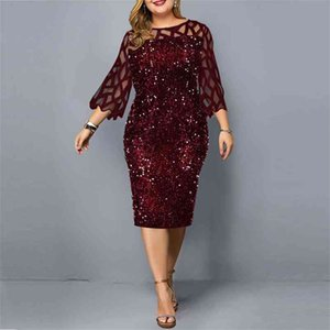 Party Dresses Sequin Plus Size Women Summer Dress New Elegant Birthday Outfit Casual Dress Wedding Evening Night Club Dress 210331