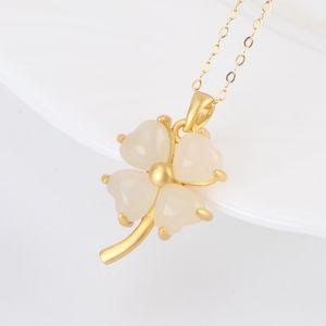 Argent Ancien Pendentif français SIYECAO S925 Hetian Herbe Herbe Collier Femme Gold Inlaid Jade Clavicule Chaîne