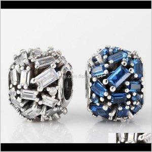 Sier Loose Jewelryelegance 매력, 클리어 CZ 비즈 레알 도금되지 않음 Pandora Bracelet 드롭 배달 2021 XTVR1