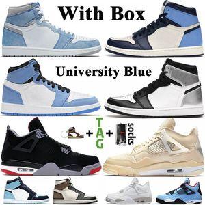 С коробкой Jumpman 1s 1 Баскетбольные кроссовки 4 4s Трэвис Скоттс 6 6s Concord 45 Bred 11 11s Мужчины Женщины Кроссовки Размер 13