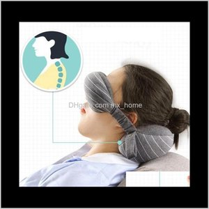 2 In 1 Eye Mask Portable Travel Head Neck Cushion Flight Sleep Rest Blackout Goggles Blindfold Shade Pillow Party Favor Feqgj 3Pr82