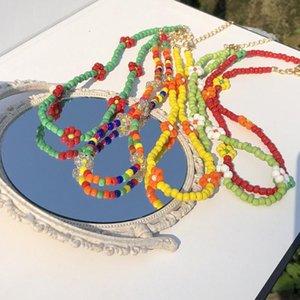 Koreanische böhmische Nachahmung Pearl Halskette für Frauen Süße Mädchen Choker Multicolor Blume Perlen Schmuck Chokers