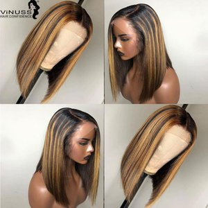꿀 금발 하이라이트 색상 1b / 4 # 27 # 가발 13x6 짧은 밥 레이스 정면 인간 가발 Pre Plucked Brazilian Remy Hair Vinuss