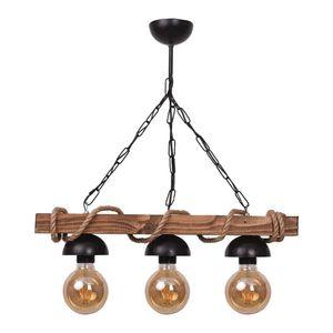 Chandeliers Chain Rope Suspended Wooden Rustic Chandelier Natural Wood, Real Wood Modern Vintage
