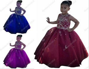 Cute Burgundy Royal Blue Purple Little Girls Kids Wedding Party Special Occasion Pageant Dresses Sheer Neck Crystal Girl's