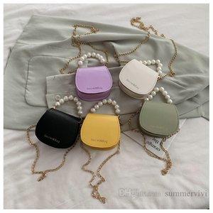 Girls pearls chain handbags kids letter printed messenger saddle bag luxury children PU leather single shoulder bags Q2212