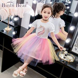 Binbi Bear Summer Unicorn Party Dress Elegant For Girls Children Cartoon Vestidos Kids Clothes Tutu Dresses Toddlers Sleeveless Princess
