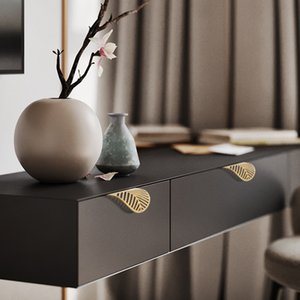 Leaf Shape Brass Door Cabinet Knobs Antique Furniture Handles Drawer Pulls Kitchen Cupboard Gold Knobs and Handles 603 R2