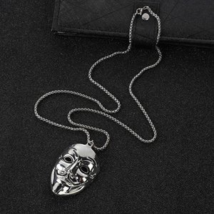 Personality V-word Hate Team Clown Mask Necklace Trendy Man Hip Hop Face Pendant Versatile Sweater Chain Jewelry