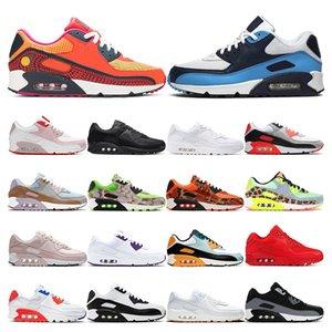 air max 90 koşu ayakkabı bayan Lazer Pembe üçlü beyaz siyah kızılötesi ESSENTIAL Bred spor sneaker eğitmenler boyutu 36-45