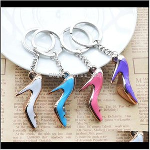 Keychains Fashion Accessories Drop Delivery 2021 High Heels Women Bag Charms Keychain Purse Pendant Cars Holder Mini Shoe Key Ring Buckle Han