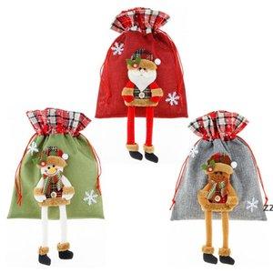 Рождественские украшения подарки Santa подарочная сумка Candy Home Drawstring Coch Xmas Decoration Подвески HWB8188