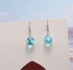 Fashion Blue Sky White Cloud Resin Drop Dangle Earrings Small Cute Transparent Ball Silver Hook Earrings for Women New Jewelry Gift 145 J2