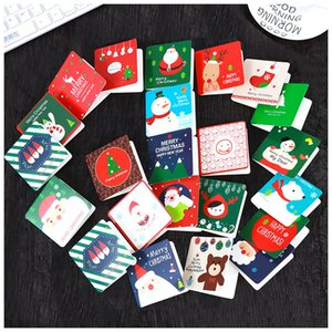 Merry Christmas Greeting Paper Card Xmas Snowman Santa Clau Pattern Postcard Cartoon Cards Handwritten Wishes Greetings Postcards BH4853 TYJ