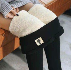 Женские зимние теплые леггинсы Высокая талия плюс бархатный утолщение искусственные тонкие стритная брюки мать черный размер S-5XL
