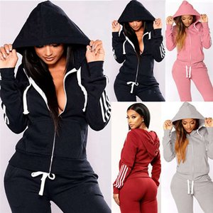 Women letter Tracksuit hooded two piece sets sports outfits long sleeve jacket+leggings fall winter jogger suit casual sportswear 3882