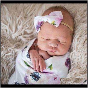 Blankets & Swaddling Baby Bow For Girl Nylon Blanket Swaddle Printed Sleep Sack Headband Set Born Kids Turban Accessoire Gift Ialgs Nmijn