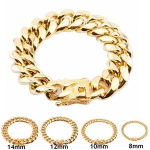 Stainless Steel Cuban Link Chain Bracelet Mens Gold Chains Bracelets Hip Hop Jewelry 8 10 12 16 18mm
