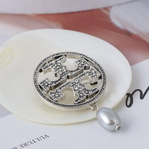 Chao ماركة مجوهرات بسيطة جوفاء الدائري مطعمة مع كامل الماس لؤلؤ المياه العذبة بروش دفعة مختلطة
