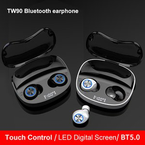 TWS original TW 90 5.0 Bluetooth headset 3D stereo music LED display wirelessheadset waterproof touch sports earbuds
