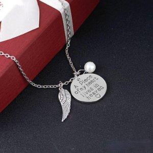 قطعة من قلبي يعيش في السماء اليد مختمة الإجهاض الإجهاض التذكارية قلادة قلادة مجوهرات هدية