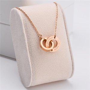 Light Lusso Zircon Inlaid Doppia Loop in acciaio inox Clavice Collana per le donne Elegante No Fade Rose Gold Jewelry Jewelry Regalo Pendant NEC
