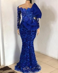 Royal Blue African Evening Dresses Lace sequins Beaded Off The Shoulder Mermaid Party Gowns Bridal prom Dress Long Sleeves