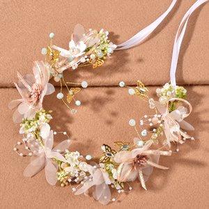 Spring Floral Crowns For Girls Fairy Tale Flowers Bridal Tiara Headpieces Pearls Beaded Ribbon Headband Wedding Party Hair Accessories Women Headdress AL8902
