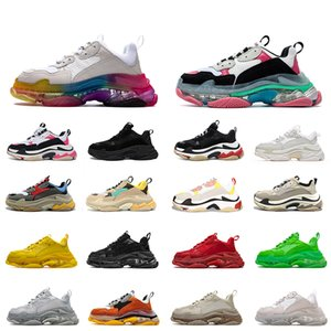 Womens Mens Triple S Luxurys Designers Running Shoes Vintage Crystal Bottoms Paris 17FW Sneakers Casual Dad Platform Trainers