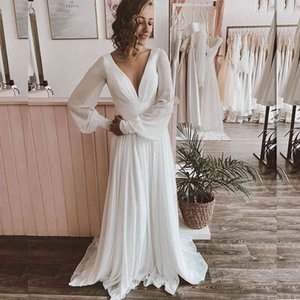 Chiffon Wedding Dress A-Line Long Sleeve Pleat Women For V-Neck Gorgeous Court Train Bridal Gowns Simple Beach Graceful Robe De