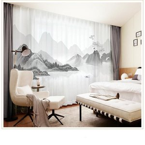Curtain & Drapes Custom Chiffon Sheer Window Drape For Bedroom Living Room Mountain Hills River Boat Landscape Khaki Gray Brown Pink Blue