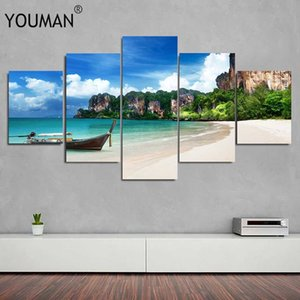 Canvas Paintings For Living Room Modular HD Prints Pictures 5 Pieces Blue Sea Beach Island Seascape Posters Home Wall Paper Art C0927
