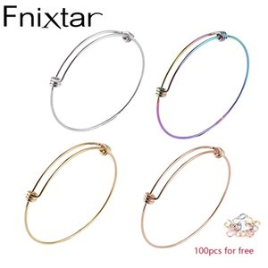 Fnixtar 50Pcs Lot 1.8mm 1.6mm Thickness Wire Bangle Bracelets Stainless Steel Expandable Wire Cable Bangle Jump Ring 55 60 66mm 210408