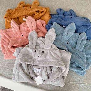 Ins rabbit ears children's Baby Hooded Cloak bath towel Nightgown Bath Robe