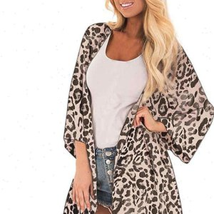 Bohemian Leopard Print Kimono Women Blouses Beach Cardigan Summer Blouse Vintage Blusas Female Sleeve Tunic Tops 5xl cjh