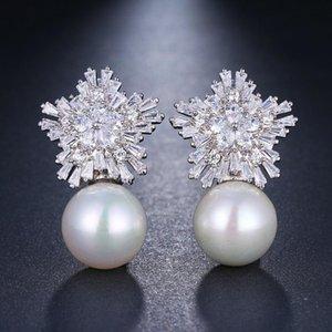 Dangle & Chandelier Retro Silver Color Snowflake Zircon Stud Earrings For Women Luxury Big Pearl Earring Trendy Female Jewelry Wedding Acces