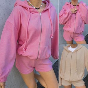 Corduroy 2 Piece Sets Womens Outfits Zip Up Hoodies and Shorts Matching Sets Sports Sweat Suits Active Wear