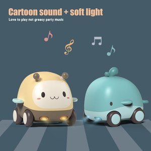 Multi-style Diecasting Toy Car Cute Cartoon Animal Model Car With Lights And Music Kids Baby Electronic Toy Gift Pull Back Car