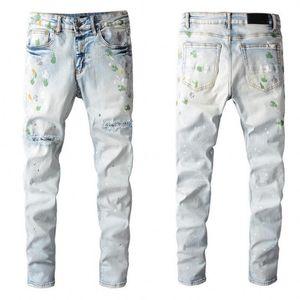 Высококачественные мужские джинсы Проблемный мотоцикл Biker Jean Rock Skinny Slim Slimped Hole полоса модная змея вышивка джинсовые штаны