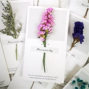 Flowers Greeting Cards Gypsophila dried flowers handwritten blessing greeting card birthday gift card wedding invitations BWE10486