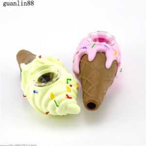 Ice Cream Design Silicone Hand Pipe for Dry Herb Silicone Smoking Pipes Glass Bong 3 Colors for Choose