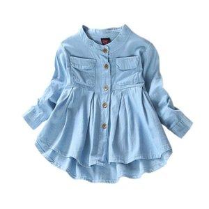 Детская пальто с длинным рукавом мандарин воротник джинсовая рубашка равнина джинсовая ткань рубашка осенняя мода