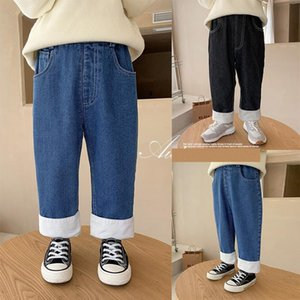 Jeans Koodykids Winter Kids Boys Casual Girls Denim Warm Pants Unisex Thick Velvet Added Baby Boy Clothes 2-7 Y
