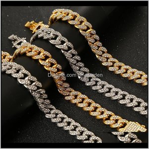 Link, Drop Delivery 2021 Cuban Link Bracelet Gold Color Full Rhinestone Crystal Bling Hip Hop Chain Bracelets Fashion Punk Jewelry 51Gis