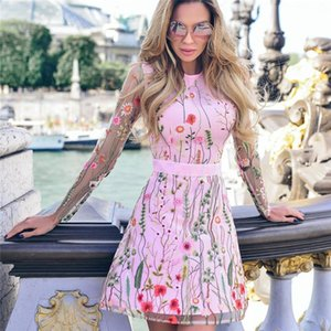 Style Mesh Patchwork Pink Flowers See Through Short Dress Birthday Party Celebrate Nightclub Women Embroidery Casual Dresses