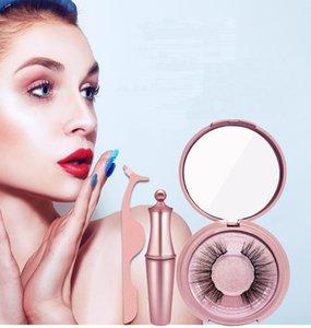 4pcs set Magnetic 3D eyelashes Liquid Eyeliner 2pairs False Mink Metal Tweezer Easy to Wear Eyelash Eye Extension