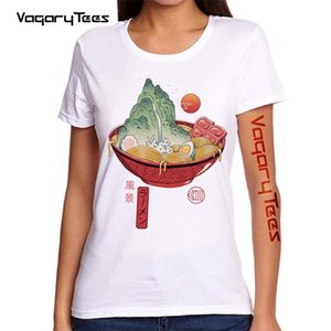Womens Summer T-shirt Japanese Ramen Landscape Print Short Sleeve T Shirts Harajuku Hip Hop Casual Streetwear Shirt Women's