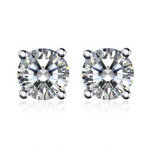 스털링 실버 4 Prongs 설정 지르콘 다이아몬드 스터드 귀걸이 여성을위한 925 스탬프 18K 화이트 골드 도금