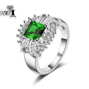 Yayi Jewelry Fashion Princess 8.9 CT 녹색 지르콘 실버 컬러 약혼 반지 결혼식 심장 파티 선물 1160 클러스터